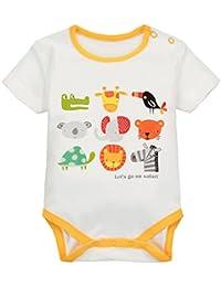 Body Bebé Manga Corta Algodón Monos Niños Niñas Peleles Caricatura Pijama