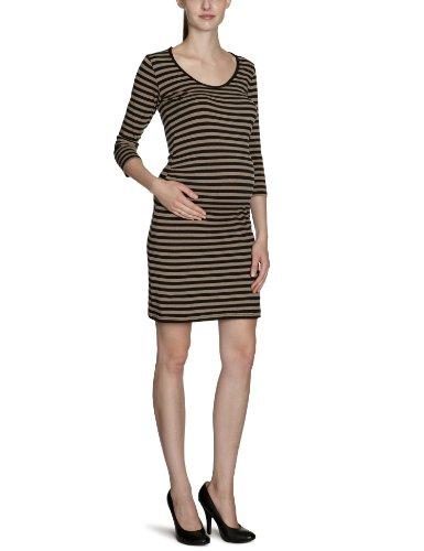MAMALICIOUS Damen Umstandsmode Kleid, gestreift 20000395 OVIA 3/4 JERSEY DRESS Beige (CINDER)