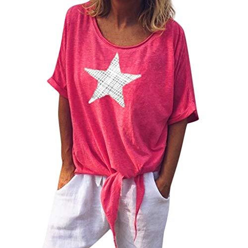 Pullover Sweatshirt für Damen,Kobay 2019 Halloween Heiligabend Weihnachten Frauen Casual O Neck Star Print Kurzarm Krawatte Shirt Tops T Shirt Bluse Pullover (Halloween Escape 2019 Party)