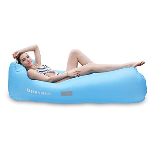SHENKEY Aufblasbare Liege Air Sofa mit tragbaren Paket für Reisen,Camping,Wandern, Pool und Strandpartys