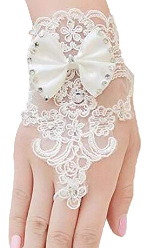 Gownlink Christian Women's Net and Lace Fingerless Gloves (White)