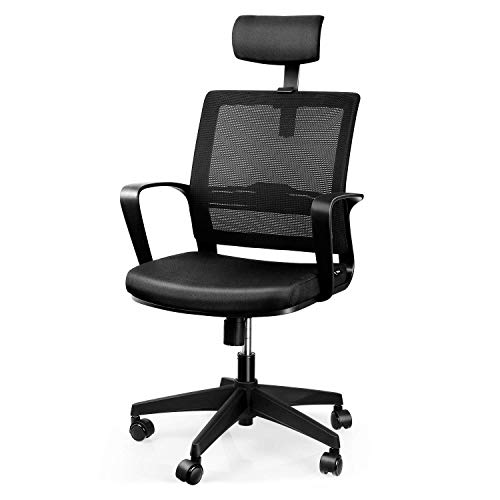 INTEY Bürostuhl Ergonomischer Schreibtischstuhl, Drehstuhl, Sitzhöhe und Wippfunktion, Belastbar bis 110kg, Schwarz