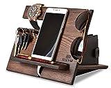 Docking station per telefono in legno di quercia, ganci portachiavi, supporto per orologi, da uomo, idea regalo per marito, moglie, anniversario, papà, compleanno, comodino, tablet