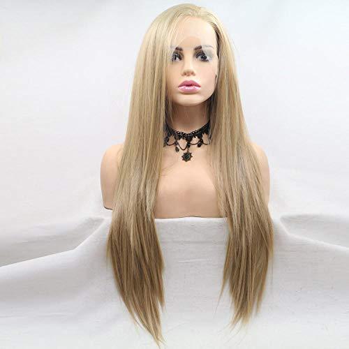Maramma Schwarz verwurzelte blonde Farbverlauf lange gewellte Perücke 80cm Spitze vorne weibliche mit hitzebeständige synthetisch Cosplay Kostüm Halloween Party Haarteil Für Frauen All
