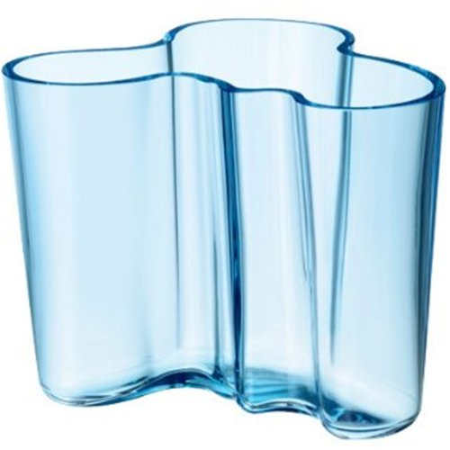 Alvar Aalto Vase 120 mm), White estándar light blue