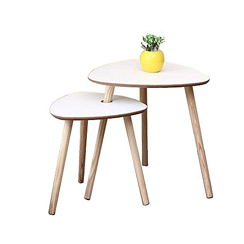 BinLZ-Table Nesting Beistelltisch 2Er-Set Dreieckstisch Wohnzimmer-Ecktisch Couchtisch mit Massiven Kiefernbeinen, Weiß -