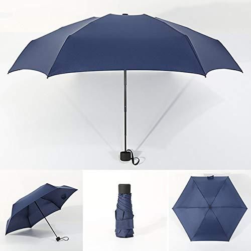 Tragbarer Mini-Regenschirm Fünf Faltbarer ultraleichter Taschenreiseschirm (Color : Navy Blue)