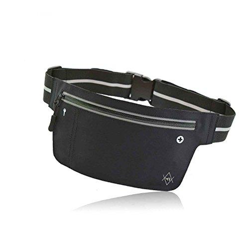 MR Couture – Ultra flache wasserfeste Neopren Bauchtasche - Hüfttasche - speziell für Wertsachen beim Reisen Sport und in der Freizeit – Verstauen Sie Handy, Geld und Kopfhörer in der Gürteltasche (Reise-geld-clip)