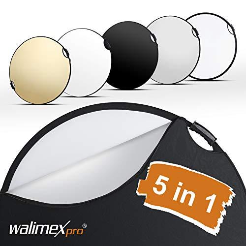 Walimex pro 5in1 Faltreflektor Wavy Comfort Ø 80cm, Set aus 4 Farben und Diffusor, Pop Up Reflektor rund, kompakt und leicht, mit Zwei bequemen Griffen, inkl. Tasche, für Studio und Outdoor - Bequemen Griff