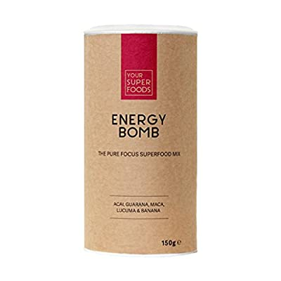 Your superfoods energy bomb, organic vegan mix powder, mixture guarana, acai, lucuma, maca, energy kick and coffee, alternative drinking powder, 150 g