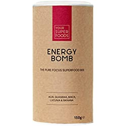 Your Superfoods Energy Bomb Superfood - Bio Vegan Mix Pulver Mischung Trinkpulver aus Guarana, Acai, Lucuma, Maca, Energiekick & Kaffeealternative, 200 g