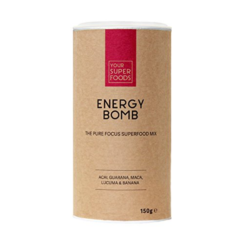 Your Superfoods Energy Bomb Superfood - Bio Vegan Mix Pulver Mischung Trinkpulver aus Guarana, Acai, Lucuma, Maca, Energiekick & Kaffeealternative, 200 g
