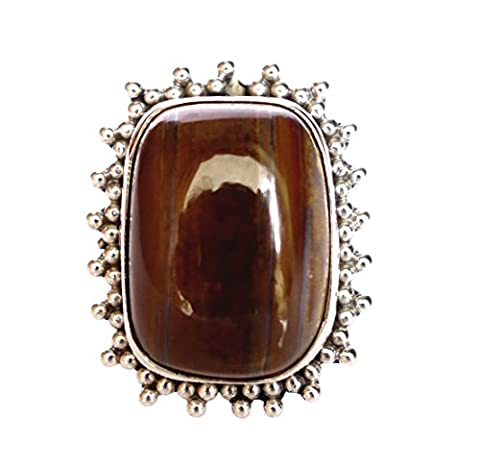 HANDMADE FINE 925 STERLING SILVER WITH GENUINE TIGER EYE GEMSTONE FOR WOMEN BY ARTISANS