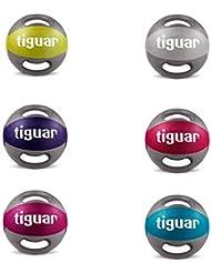 tiguar Medizinball mit Griffen 5 kg, 6 kg, 7 kg, 8 kg, 9 kg, 10 kg, einzeln oder als Medizinball Set, Fitball, Fit Ball, Gymnastikball, Gewichtsball aus Kunststoff