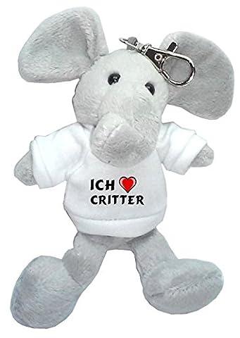 Plüsch Elefant Schlüsselhalter mit T-shirt mit Aufschrift Ich liebe Critter (Vorname/Zuname/Spitzname)