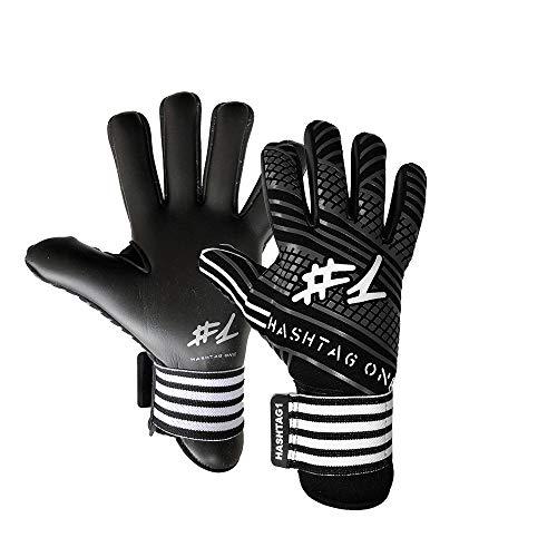 #1 Hashtagone Endboss Black Torwarthandschuhe für Erwachsene & Kinder - Größe 8 - entwickelt vom Torwart Bundesliga Profi - Tormannhandschuhe Herren, Kinder (8 Endboss Black)