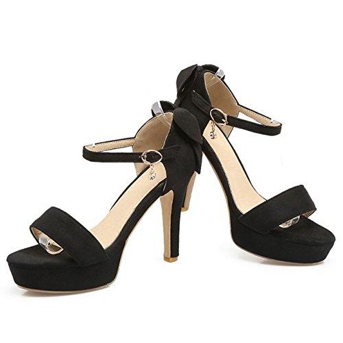 COOLCEPT Damen Mode Knochelriemchen Sandalen Open Toe Plateau Blockabsatz Schuhe Mit Bogen Schwarz