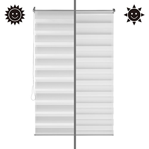 Levivo Double Blinds/Blinds for Window, privacy screen and black-out without drilling, in many sizes from 50 to 95 cm wide, alternating stripes of opaque and transparent material, white, 95 x 150 cm