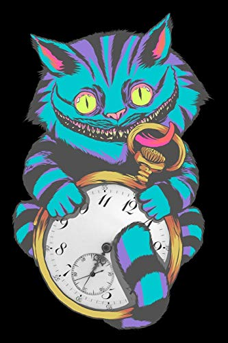 Journal: Grinning Cheshire Cat Wonderland with Pocket Time Watch Black Lined Notebook Writing Diary - 120 Pages 6 x 9 (Pocket Black Watch)