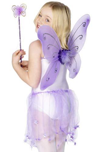 Smiffys Kinder Mädchen Feen Set, Flügel und Zauberstab, One Size, Lila, 29170