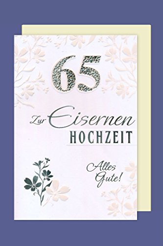 Eisernen Hochzeit 65 Grußkarte Karte Prägung Foliendruck Silber 16x11cm