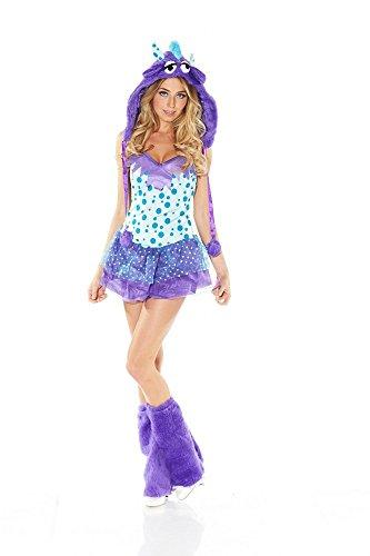 Damen-Kostüm DOTTY MONSTER Türkis/Lila Kunstfell Fell-Kostüm Gr. S/M (Monster-kostüm Lila)