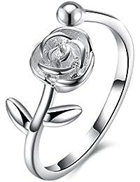 YAZILIND delicada joyer¨ªa 925 Sterling plata anillo de extremo abierto con rosa flor cubic zirconia ajustable regalo de compromiso de boda para mujeres ni?as