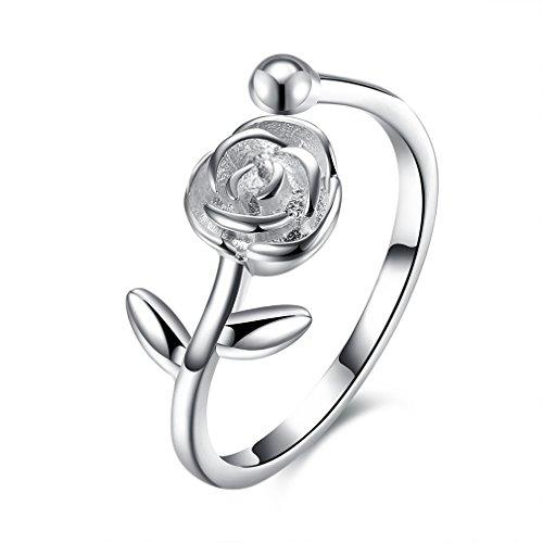 Yazilind 925 Sterling Silber Öffnungsring für Frauen einfaches Design mit Cubic Zirconia Rose Form