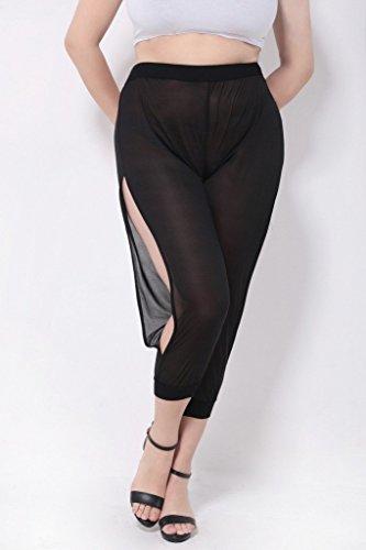 Bigood Pantalon Tulle Femme Legging Grande Taille Fendue Latéralement Plage Casaul Eté Perspectif Noir