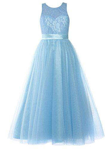 FAIRY COUPLE Schaufel Hals Lace Tüll A-linie Junior Brautjungfer Mädchen Kleid K0233 Hellblau Größe 10