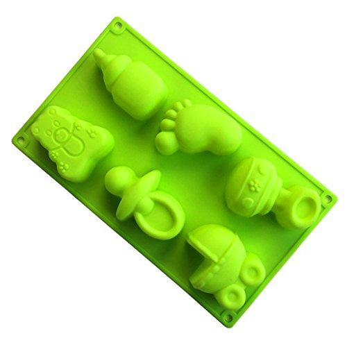 MKNzone 1 Stück 6-Loch 29.5 X 17.5 X 3.5 cm Silikon Backform Schokolade, Gelees und Süßigkeiten etc. - Schnuller, Flaschen, kleine Füße und Spielzeug - Füße Silikonform