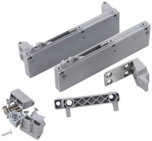 FORTE  Dämpfungsbeschlag für Schwebetürenschrank, 2er Set, Metall, grau, 19 x 7.50 x 7.50 cm
