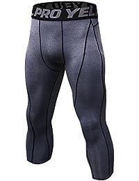Hankyky Herren 3 4 Sport Tights Leggings Schnell Trocken Yoga Workout  Laufen Fitness Strumpfhose de196e51bf