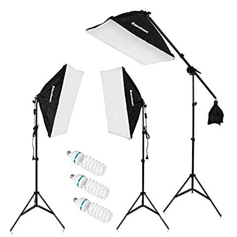 Excelvan Photo Studio Softbox Continuous Lighting Kit - 3 x135w 5500K Bulbs Lamp with UK Plug 20