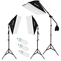 Excelvan Pro Kit Éclairage Photo Studio 5500K 2000W 3* Softbox + 3* Ampoule + 3* Trépied + Kit Bras Girafe + Sac de sable