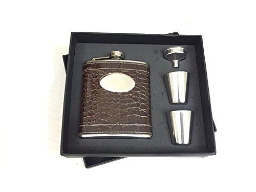 Preisvergleich Produktbild SHOT Fläschchen Geschenk Set mit Snake Skin Typ Arbeitshemd Leder verpackt Edelstahl 304Flachmann mit 2Shot Glas & 1Fläschchen Trichter