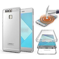 Urcover Huawei P9 Coque 360 degrés Protection Housse complète Avant et arrière, Rigide TPU Cover Huawei P9, Etui Tactile Case - Transparente