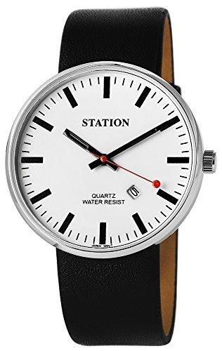 Bahnhof Herrenuhr Weiß Schwarz Datum Analog Quarz Metall Leder Eisenbahn Station Armbanduhr