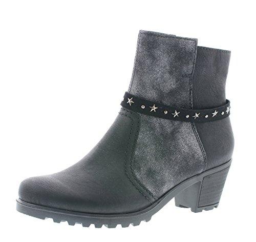 Rieker Damen Stiefelette Y8077,Frauen Stiefel,Boot,Halbstiefel,Damenstiefelette,Bootie,hoch,Trichterabsatz 5.2cm,schwarz/schwarz-Silber/Black-Silver, EU 41 -