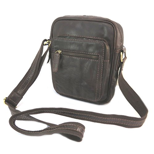 Bolsa de cuero 'Gianni Conti'oscuro marrón de la vendimia - 24x20x7 cm.