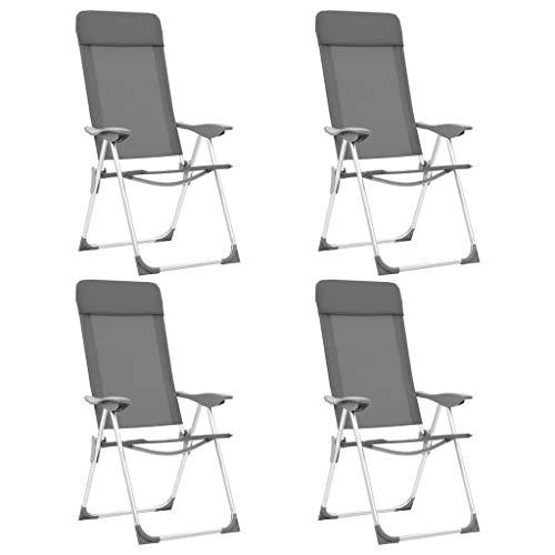 Festnight- Fauteuil de Jardin Pliant en Aluminium Chaise de Relaxation Chaise Longue de Jardin Chaises de Camping Pliables 4 pcs Gris