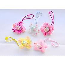 Pack de 6 coleteros de tela con fresas y bolitas en colores surtidos. Envío  GRATIS 712adfe0a085