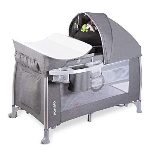 Lionelo Simon 2in1 Baby Bett Laufstall Baby ab Geburt bis 15 kg Wickelauflage Spielkarussell Stofftiere luftige Seitenwände Moskitonetz Transporttasche zusammenklappbar (Stone)