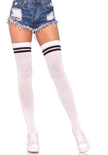 schwarz weiß Deluxe blickdicht Overknee gerippt Athletic Streifen Strümpfe Kostüm Schulmädchen...