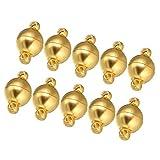 B Baosity 10 Satz Schmuck Magnetverschlüsse Magnetverschluss Kettenverschluss für DIY Schmuck Ketten Halskette Armbänder - Gold, 6 mm