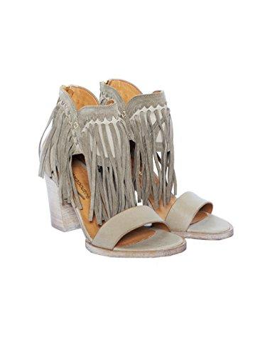 LA FEE MARABOUTEE Damen Sandale mit Absatz und Fransen in Beige 795 coloris du type