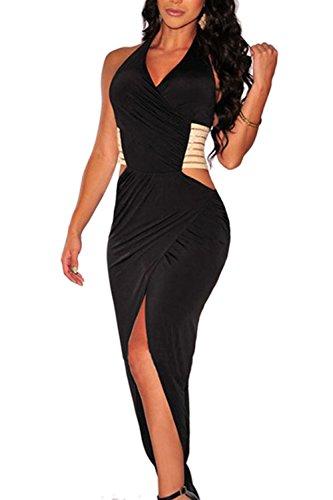 Frauen Sexy Wickeloptik geraffte Schlitz rückenfreie figurbetonten Kleid Black