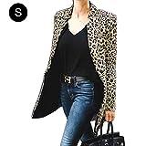 DRAULIC Damen Mantel Jacke mit Stehkragen,Lange Hülse für Frühling und Herbst Leoparden muster,