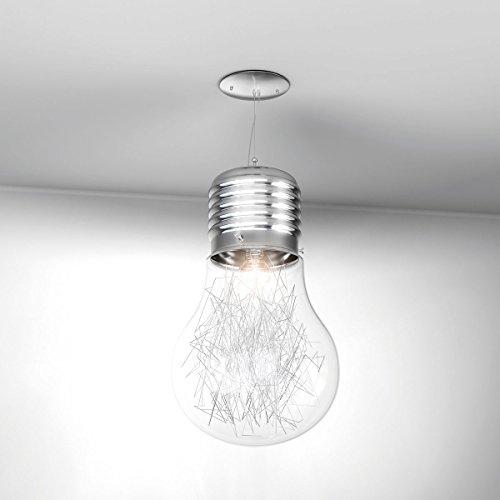 Lampadario a sospensione LAMPA a forma di lampadina Vetro Trasparente e Filo di Alluminio ideale per camerette