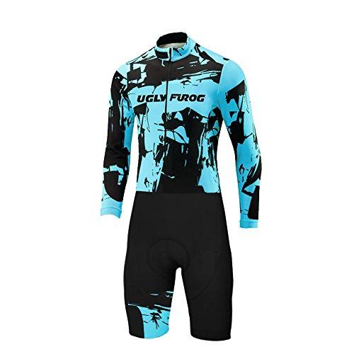 Uglyfrog Herren Triathlon Tri Suit Long Sleeve Quick Dry Skinsuit - Triathlon-Rennanzug mit erweiterter Zippers Breathable & Durable Cycling Suits